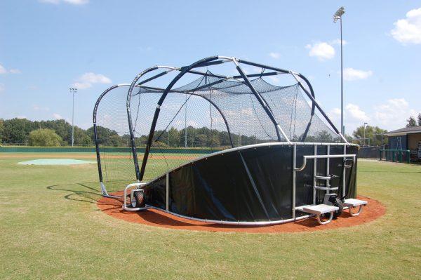 Portable Baseball Backstop Rear Side View